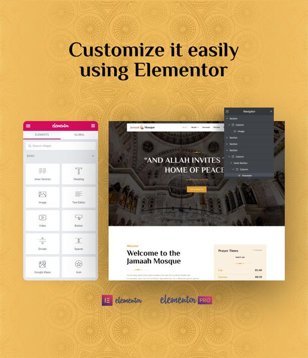 Islamic center Website Elementor Template