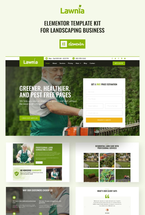 Gardener Elementor template